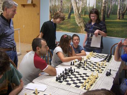 Grandmaster Akobian coaching chess students